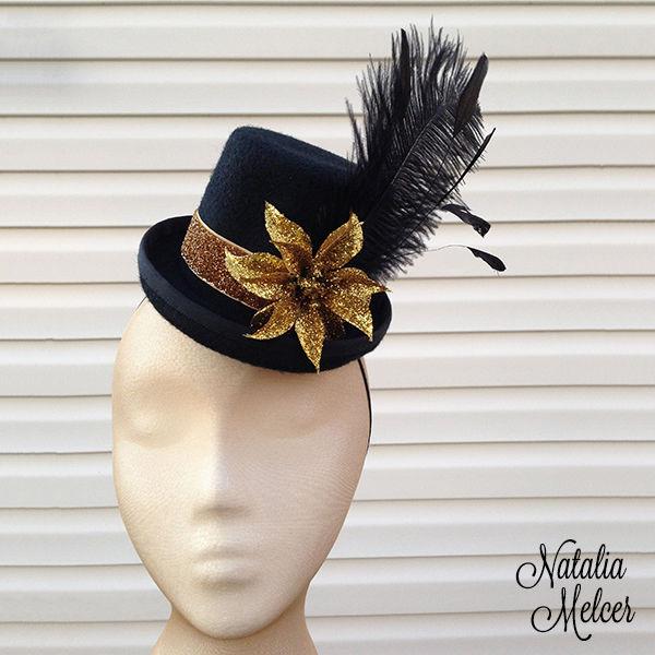 64090f0b16141 Natalia Melcer » Black and Gold Mini Top Hat